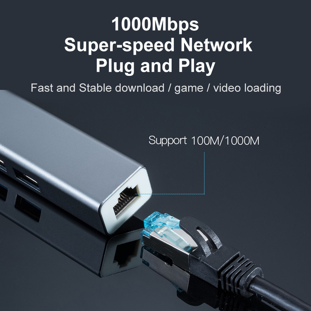 OFCCOM USB Ethernet USB 3.0 2.0 to RJ45 Hub 10/100/1000M Ethernet Adapter Network Card USB Lan For Macbook Windows