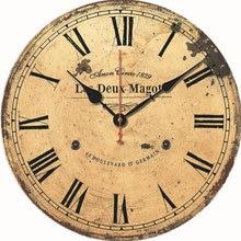Horloge murale rétro en bois de 14 pouces, Design moderne Vintage, grande taille, décoration de bureau, café, salon, maison, horloges murales d'art