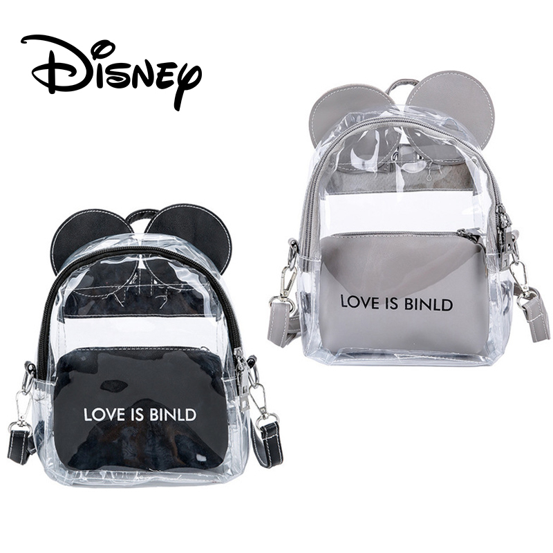 New Mickey Mouse Women Backpack Transparent Super Two Bag Student Schoolbag Summer Girl Cute Mochila Mickey Shoulder Backpack