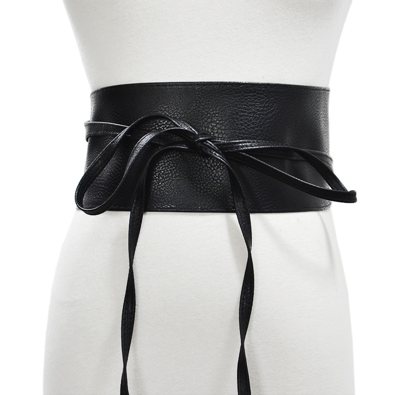 2019 Black Red Gold Brown Wide Waist Corset Belt For Dress Bowknot Waistband Leather Obi Belts For Women Cinturones Para Mujer