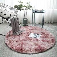 Розовый круглый ковер в скандинавском стиле Ins градиент яркий коврик для гостиной спальни коврики с мехом большой размер висячая корзина ко...