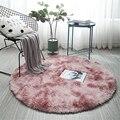 Rosa redondo tapete nórdico ins estilo gradiente colorido tapete para sala de estar quarto tapetes de pele grande tamanho pendurado cesta