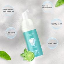 60ml Teeth Whitening Mousse Mint Toothpaste Oral Hygiene Cleaning Tooth Refreshing Mouth White Removes Breath Stains Plaque W9B1
