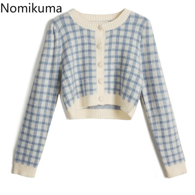 Nomikuma Vintage Plaid Knitted Cardigan Korean Short Knit Women Coat 2020 Autumn Long Sleeve O neck Sweet Crop Top Sweater 6D016