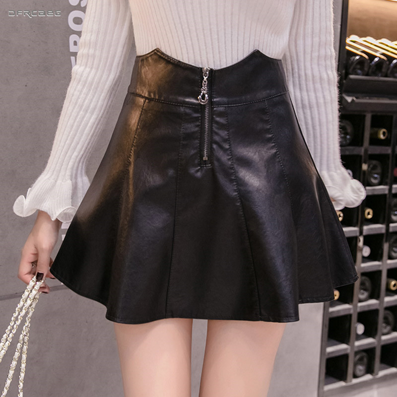 Black Faux Leather Zipper Women Pleated Mini Skirts High Waist Steetwear Sexy Club Pu Skater Skirt Femme image