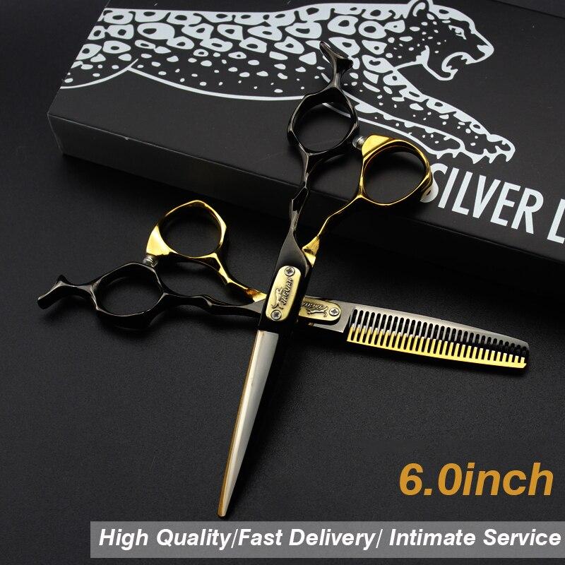 6.0 Black gold 440C Hair Scissors Case Cutting Scissors Thinning Scissors Hair Barber Barbearia Profissional Acessorios Tigers