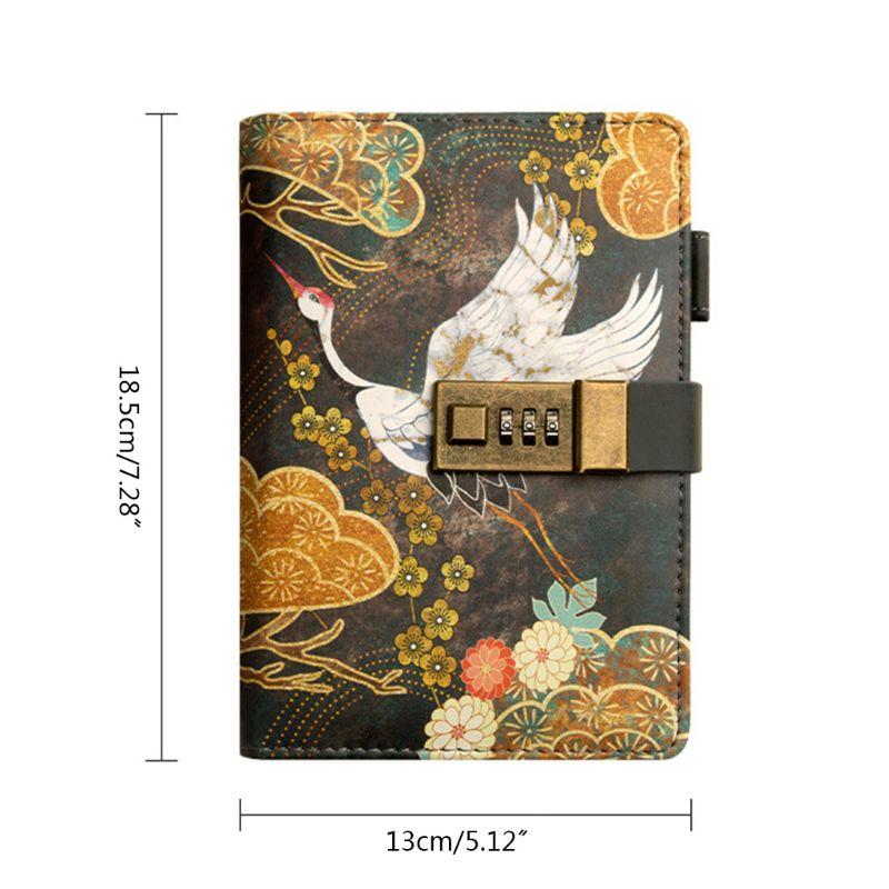 A6 mot de passe cahier avec serrure à combinaison 80 feuilles Journal Journal bloc-notes cadeau 0811