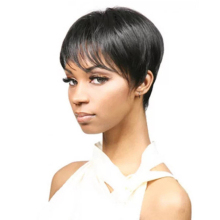 Wigs Short Human-Hair Capless Maxine Pixie-Cut Straight Bangs Black Women with for 150-%