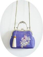 Angelatracy 2019 Silk Embroidery Gold Thread for Women Handmade Floral Big Vintage Bamboo Handle Tassel Handbags Messenger Bag