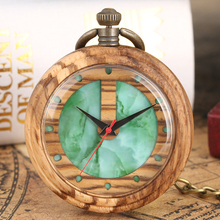 Nice Green Marbling Pattern Dial Pocket Watches Charming Wooden Quartz Watch for Ladies Light Brown Case Pendant