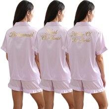 Pajamas Set Womens Ladies Satin Wedding Bridesmaid Bride Pyjama Set Wear Pajamas Short Sleeve Pjs Set Lavender