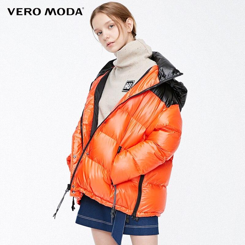Vero Moda 2019 Women's Glossy Fabric Hooded White Duck Down Jacket Parka Coat  | 318423520