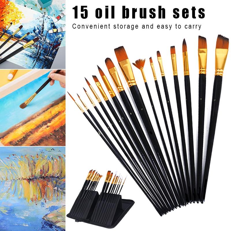 15 pces conjunto de escova pintura artista punho longo portatil para pintura a oleo acrilico aquarela