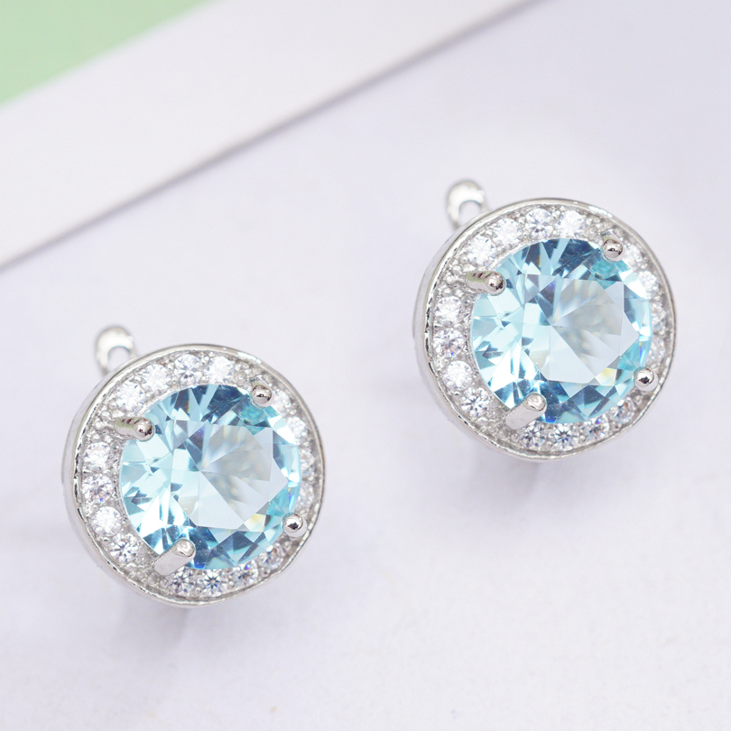 6 Colors Fashion Circle Earrings Round Cubic Zirconia Classic Hoop Earrings for Women OL Style Statement Earrings Wholesale 2