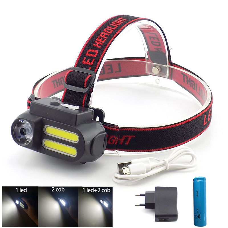 3 Led XPE COB USB Rechargeable Headlamp Headlight 18650 Frontal Head Lamp Torch Light Flashlight For Fishing Camping Powerful