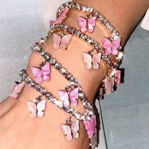 Flatfoosie Sweet Cute Butterfly Bracelets for Women Gold Silver Color Shiny Crystal Chain Bracelet Fashion Wedding Jewelry Gift
