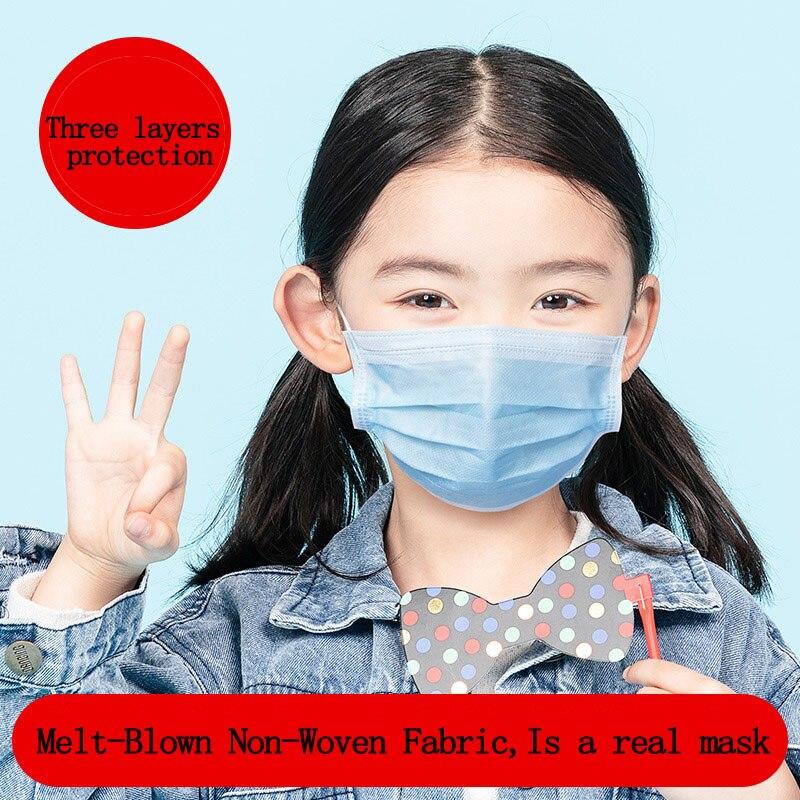 Одноразовые Маски Детские маски для взрослых с тремя слоями уплотнения в популяционной маске, пыленепроницаемые антивирусные дышащие 1 шт.