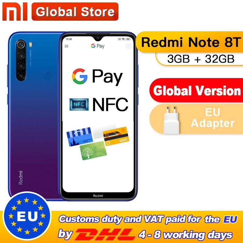 In Stock! Global Version Xiaomi Redmi Note 8T 32GB 3GB NFC Smartphone 48MP Quad Rear Camera Snapdragon 665 Octa Core 4000mAh