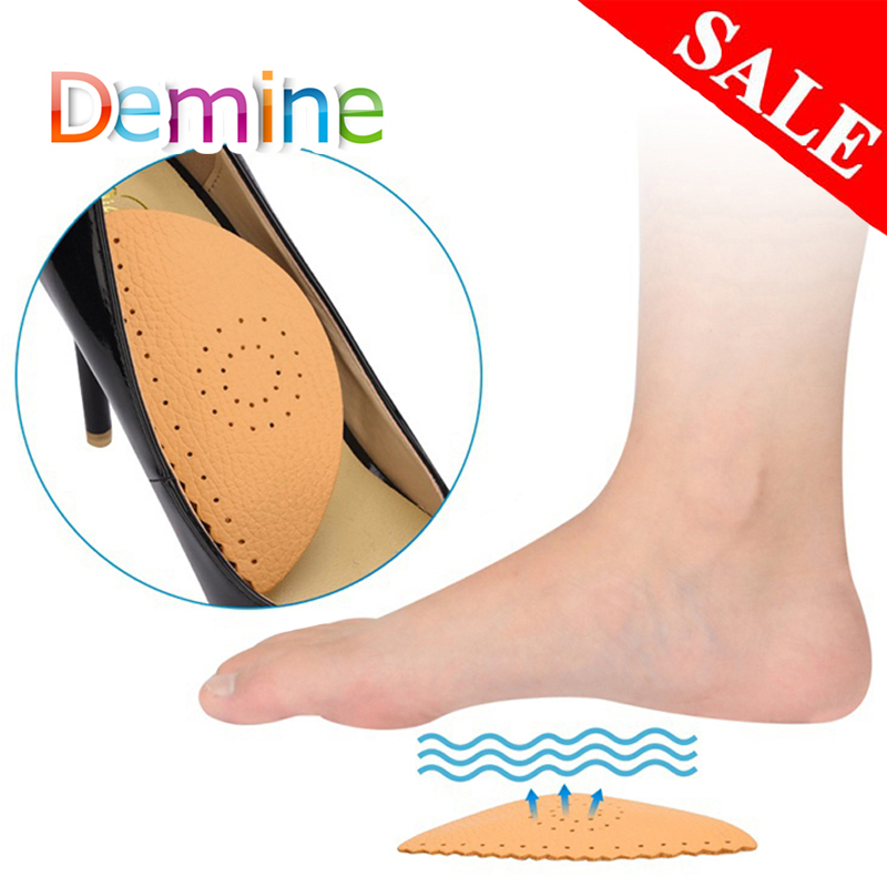 Demine Leather Arch Support Pads For Flat Foot Heel Orthotic Insoles Pain Relief Orthopedic Corrector Cushion Shoes Pad Inserts