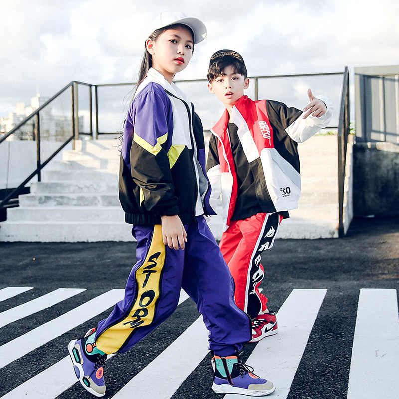 Ropa fresca de Hip Hop para niños, chaqueta holgada para correr, pantalones casuales para niñas, ropa de baile de Jazz, disfraz, ropa de salón