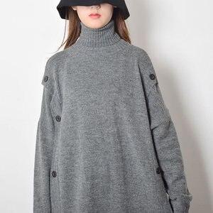 Image 4 - XITAO Taste Dekoration Gestrickte Casual Kleid Frauen 2019 Winter Grau Koreanische Mode Neue Stil Rollkragen Kragen Gerade GCC2040