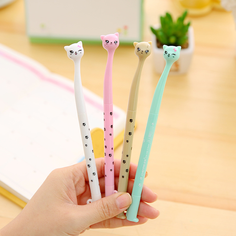 4Pcs/Set 0.38mm Creative Cat Cute Pens Kawaii Ink Gel Pen Gift School Office Writing Supplies Stationery Wholesale