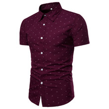 2019 new brand anchor print short sleeve shirts men dress eu size slim camisa social mens casual fit