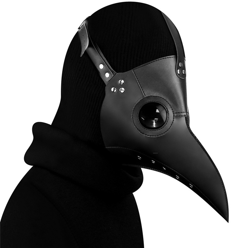 Hot Plague Doctor Bird Nose Beak Faux Leather Steampunk Halloween Party Mask