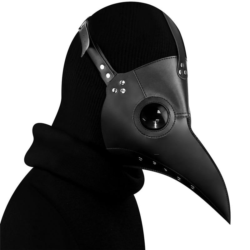 Hot Plague Doctor Bird Nose Beak Faux Leather Steampunk Halloween Party Mask