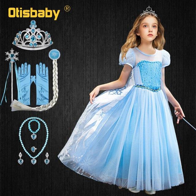 Elsa Dress For Girls 4 Layers Tulle Princess Dress Children Snowflake Costume