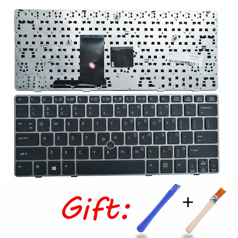 NEW US Keyboard For HP EliteBook 2560p 2570P 2570 2560 English Laptop KB SILVER Frame