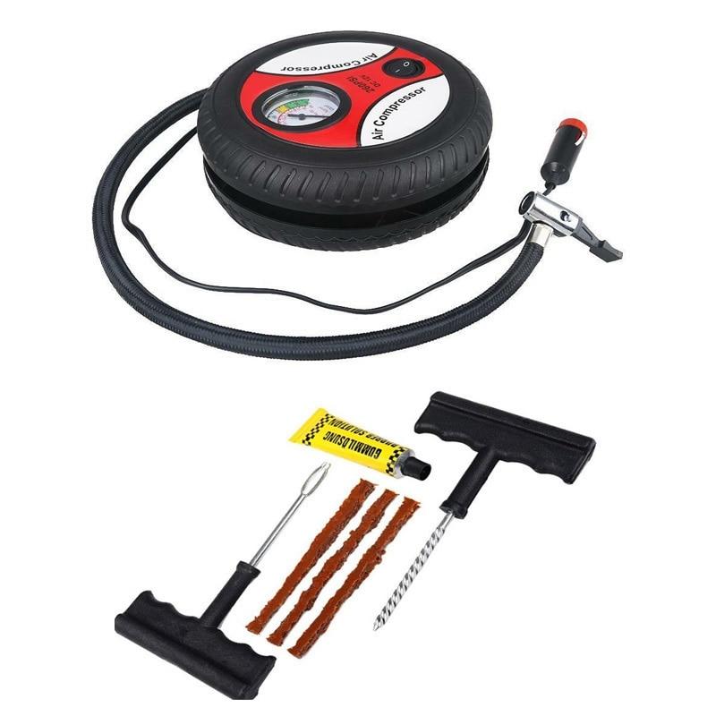 inflação pneu com ferramenta reparo