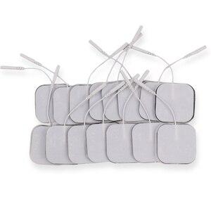 Image 1 - Almohadillas de electrodos reutilizables, parche de masaje autoadhesivo Tens, Estimulador muscular nervioso, masajeador de fisioterapia Digital, 5x5cm, 50/100 Uds.
