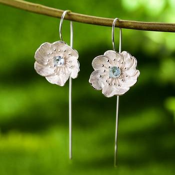 Lotus Fun Blooming Anemone Flower Dangle Earrings Real 925 Sterling Silver Handmade Designer Fine Jewelry Earrings for Women