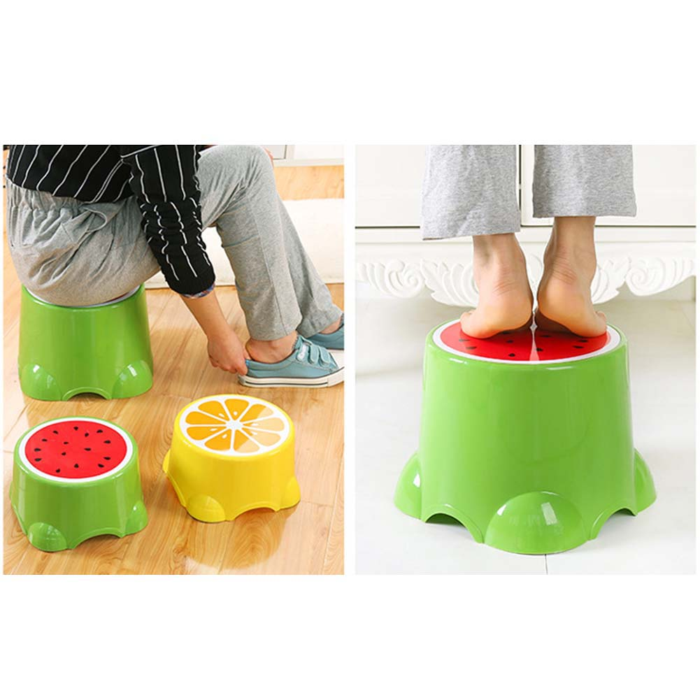 4 Colors Lovely Cartoon Stools Fruit Pattern Living Room Non-slip Bath Bench Child Stool Plastic PP Changing Shoes Stoo