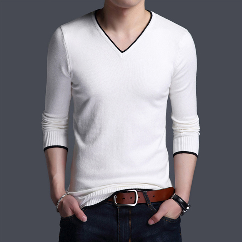 Brand Sweater Pullover Woolen Korean Men Casual Fashion White Black Autumn Slim Styles