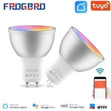 Lâmpada de luz inteligente frogbro 5w, mr16 gu10 gu5.3, bi pinos rgbcw, regulável, muda de cor, sincronização com trabalho musical com alexa tuya