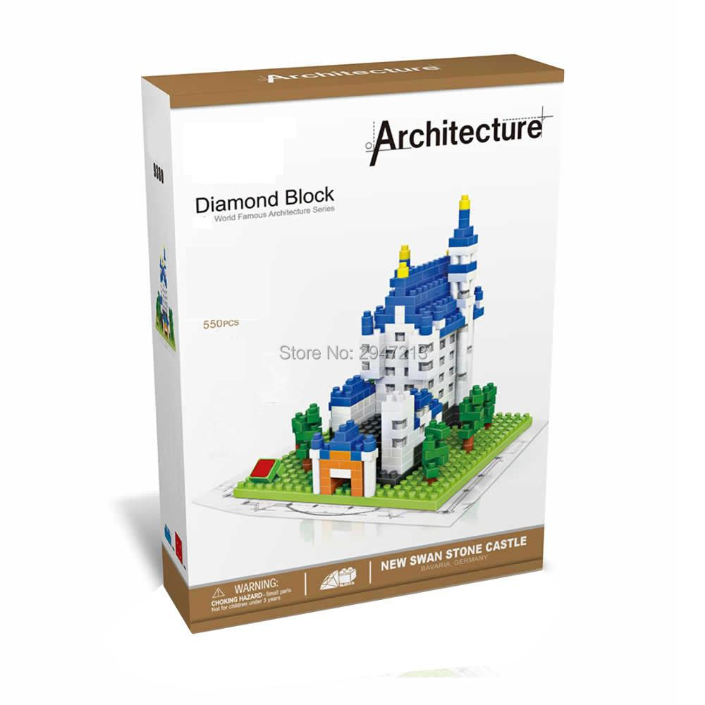 hot <font><b>LegoINGlys</b></font> creators city architecture Street view New Swan Stone <font><b>Castle</b></font> Germany model mini micro diamond blocks bricks toys image