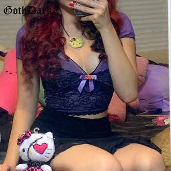 Goth Dark Lace Patchwork Sexy Gothic Crop T-Shirts E-Girl Style Bow Front V-Neck Short Sleeve Bodycon Purple Tee Women Tops Fall v neck crop tee