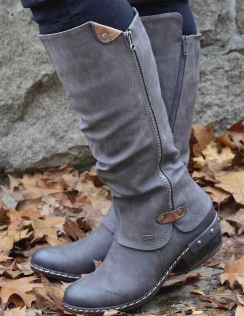2019 vrouwen Laarzen Westerse Herfst Winter Lange Mid Calf PU Rits vrouwen schoenen Effen Laarzen Ronde Neus Lage Hak sneeuw Warme Laarzen