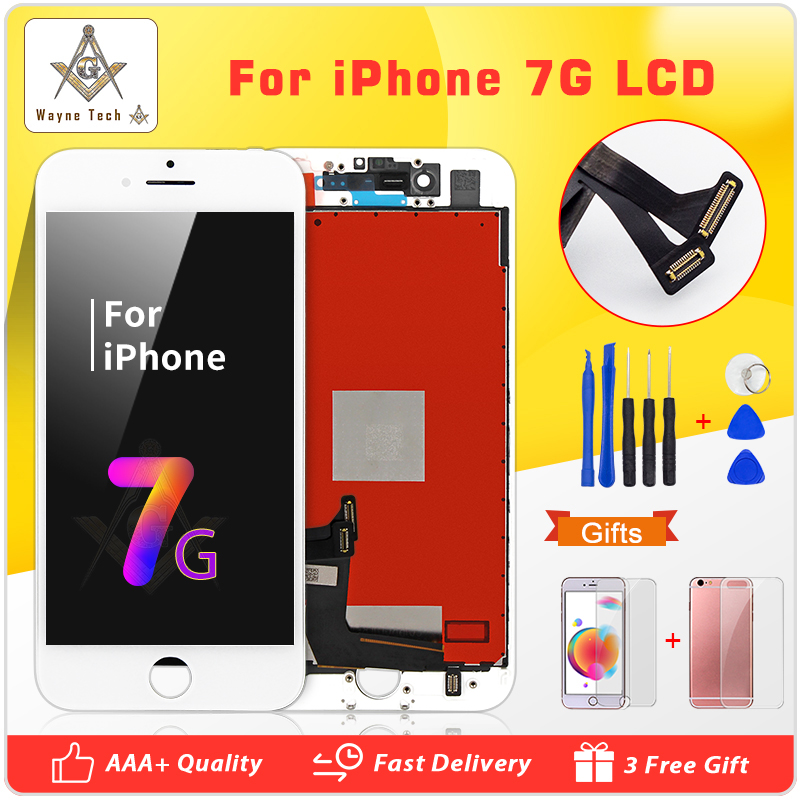 Top Quality AAA LCD For IPhone 7 Display With Touch Digitizer Assembly Display Cold Glue Free Shipping