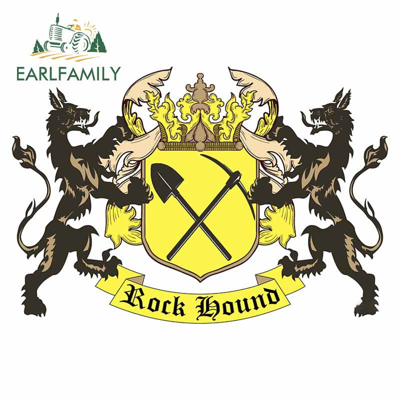 EARLFAMILY 13cm x 9.1cm for Rockhound Coat of Arms Car Stickers Refrigerator Windshield Decal Cartoon Surfboard Car Assessoires