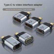 Type-C toVga/DP/RJ45/дисплейный порт MiniDP типа «HD видео конвертер 4K 60Hz для MacBook Huawei Mate 40, совместимому с HDMI USB-C адаптер тype C