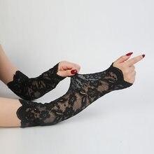 Guante de conducción para mujer, manguitos de brazo a prueba de sol, guantes de encaje sensuales, sin dedos, manga elástica, mangas falsas, Guante largo clásico