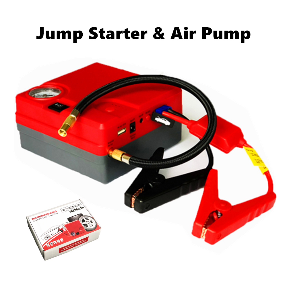 GKFLY Car Jump Starter Emergency Starting Cables Device 12V 400A Air Compressor pump 16800mAh Car Booster Buster Tire inflator