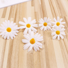 10PCS White Daisy Artificial Flower Heads DIY Handmade Headband Hairclip Accessories Wedding Car Decoration Party Supplies(China)