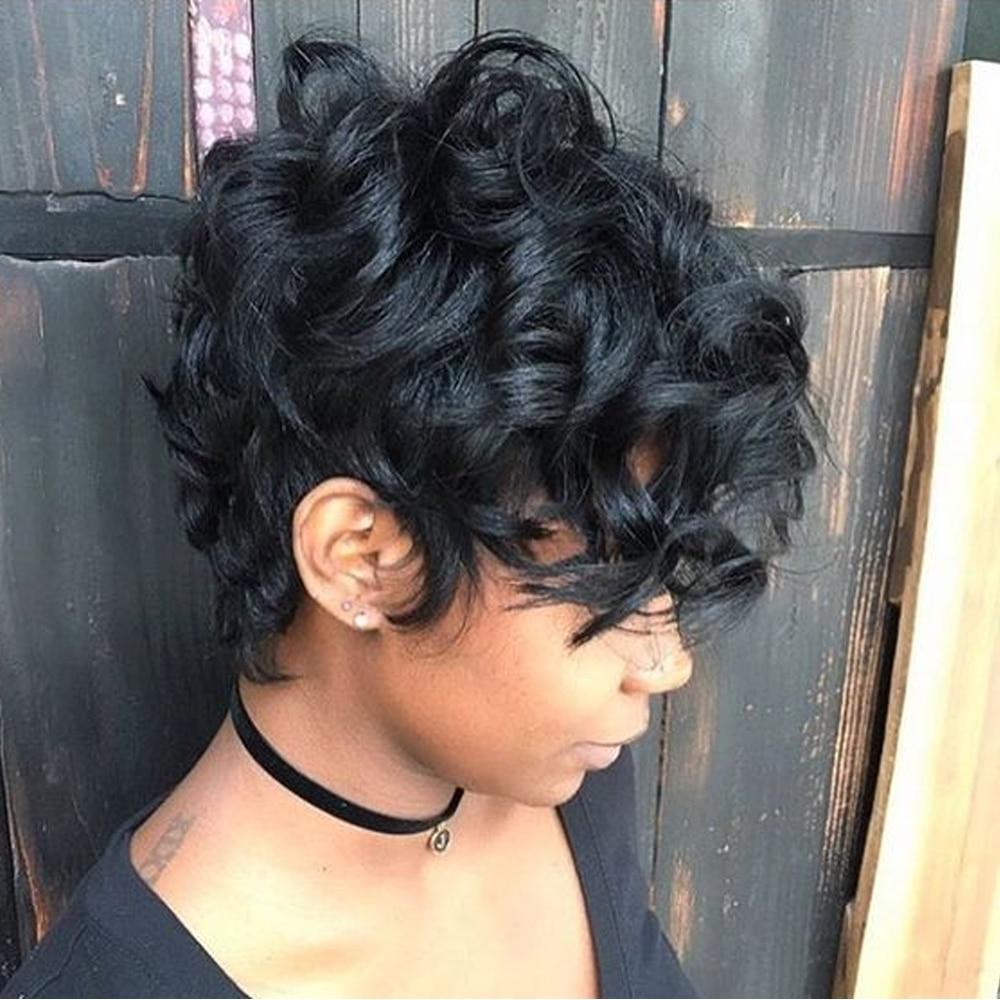 Sapphire Side Part Human Hair Wigs Bob Wig Short Human Hair Lace Wig For Black Women Pixie Cut Brazilian Curly Lace Wig