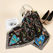Black Big Size Women scarf Satin Square Heart Star Printed Head Scarves