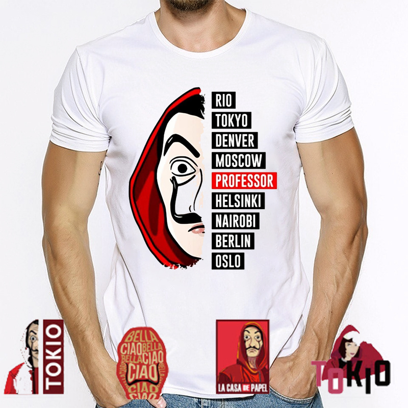 La Casa De Papel T Shirt House Made Of Paper Harajuku T-shirt Men Summer Money Heist Cartoon Tees Short Sleeve Hip Hop T-Shirts