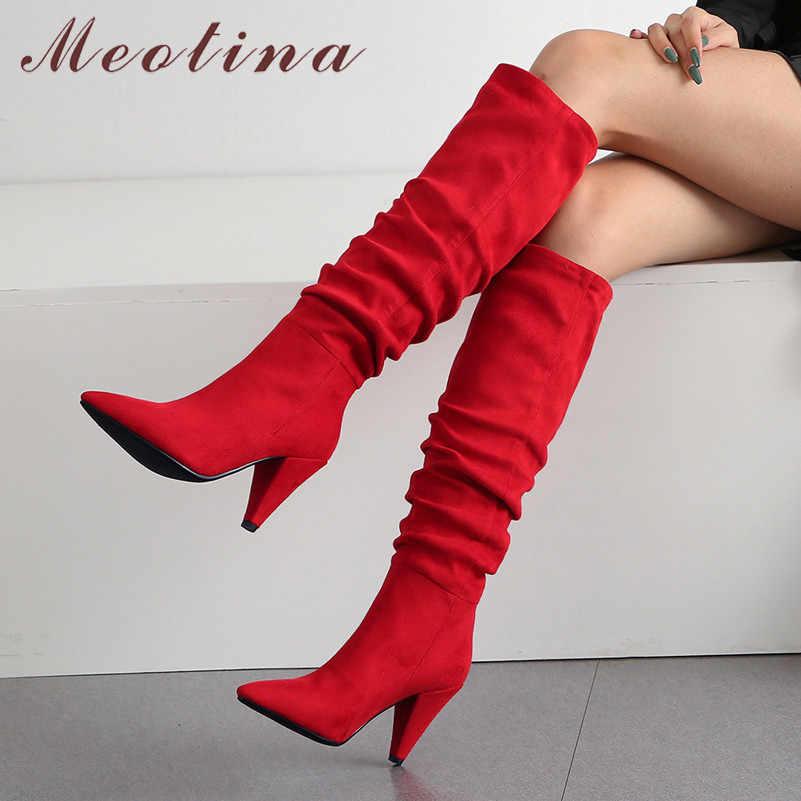 Meotina ฤดูหนาวเข่ารองเท้าบูทสูงจีบ SPIKE รองเท้าส้นสูงรองเท้าส้นสูงชี้ Toe รองเท้าส้นสูงรองเท้าผู้หญิงฤดูใบไม้ร่วงสีแดงขนาด 34-43